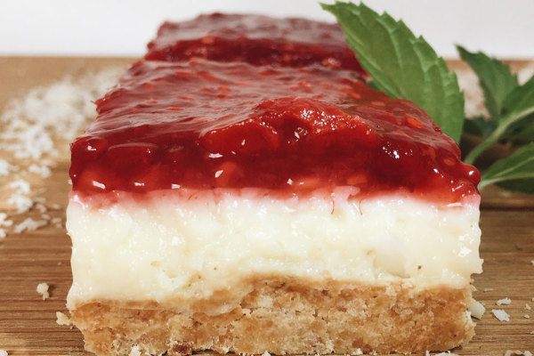Coconut cake with rasberry filling